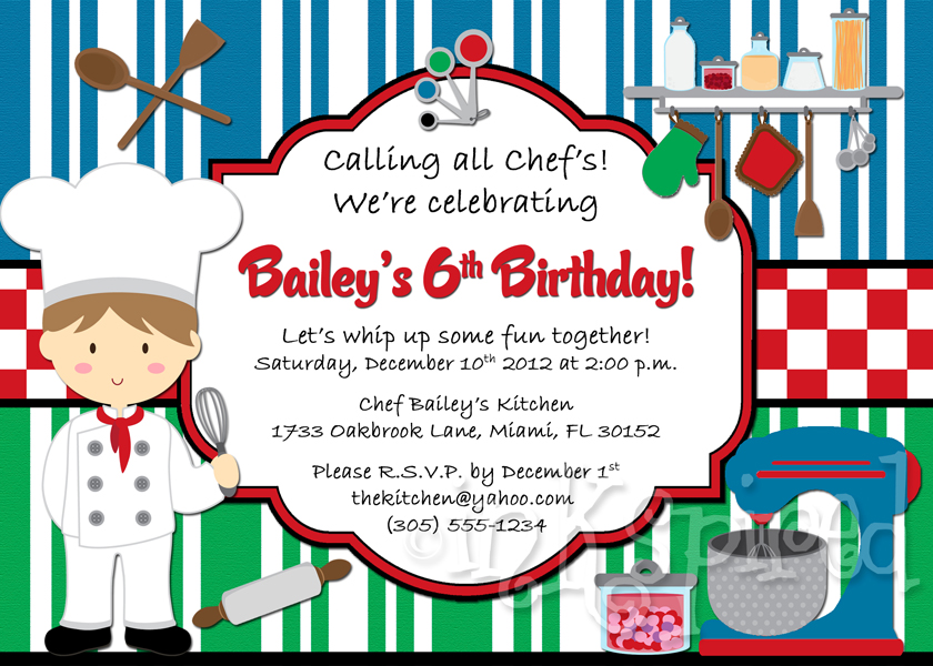 Little Chef Boys Cooking Party Birthday Invitation Printable ...