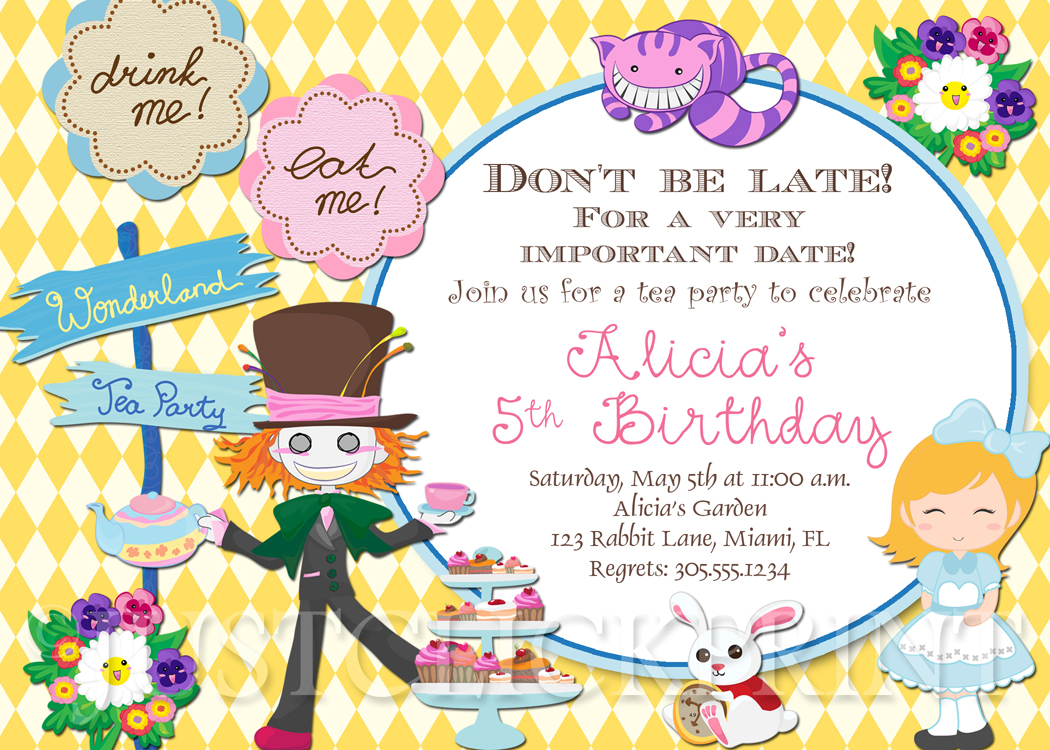 Alice in Wonderland Inspired Birthday Invitation Printable Just