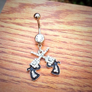 Rhinestone Pistols Belly Ring