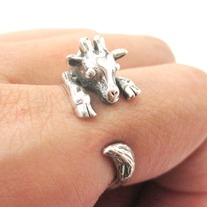 Baby Giraffe Animal Wrap Around Hug Ring In Solid 925 Sterling Silver - US Sizes 4 To 8.5
