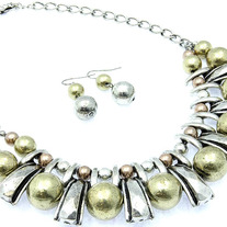 Antique Silver Copper and Gold Statement Necklace with Earrings