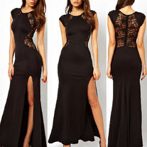 """Reward"" high split lace maxi dress"