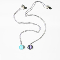 Single Gemstone Necklace - Silver or Gold - Choose of Stone Color