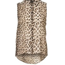 Leopard Print Shirt with Dipped Hem