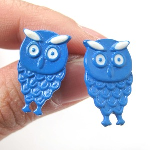 Unique Cute Owl Bird Animal Feather Stud Earrings in Blue