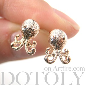 Small Cute Octopus Squid Sea Animal Stud Earrings in Light Gold