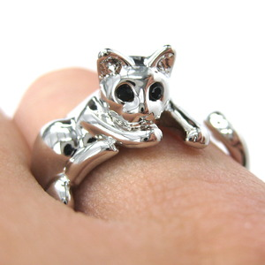 Miniature Kitty Cat Animal Wrap Hug Ring in SHINY Silver - Sizes 5 to 9