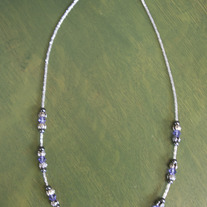 Handmade Beaded Necklace Tanzanite Swaroviski Crystals medium photo