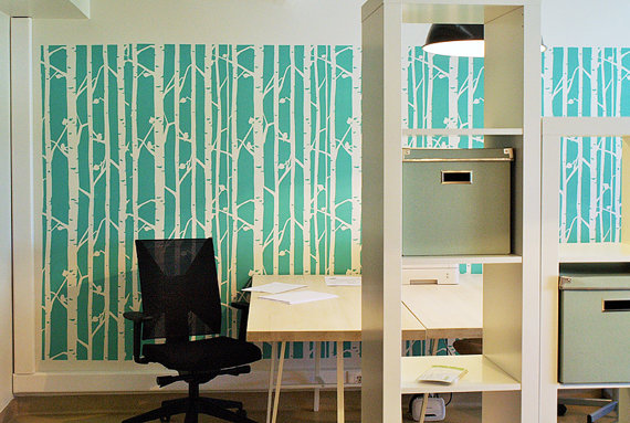 Diy Wall Decor For Office : Birch tree wall stencil decorative scandinavian large