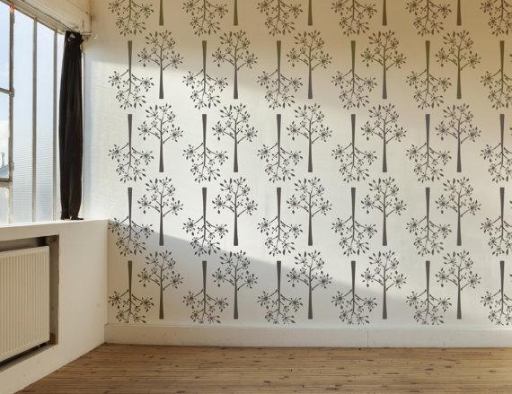 Dill Decorative Scandinavian Large Wall Stencil DIY Wallpaper Look Easy Home Decor