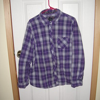 Faded Glory Purple Plaid Shirt XXL