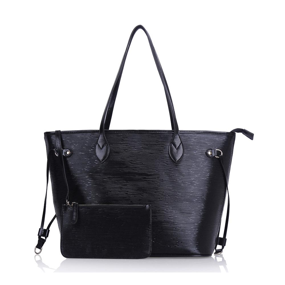e120a5dc03 Leather Large Top Zip Bucket Tote Shoulder Bag Shopper Handbag with  Detachable Pouch-Black