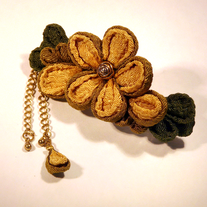 Yellow chirimen flower barrette