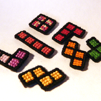 Cross-stitch Tetris Magnets: pina colada