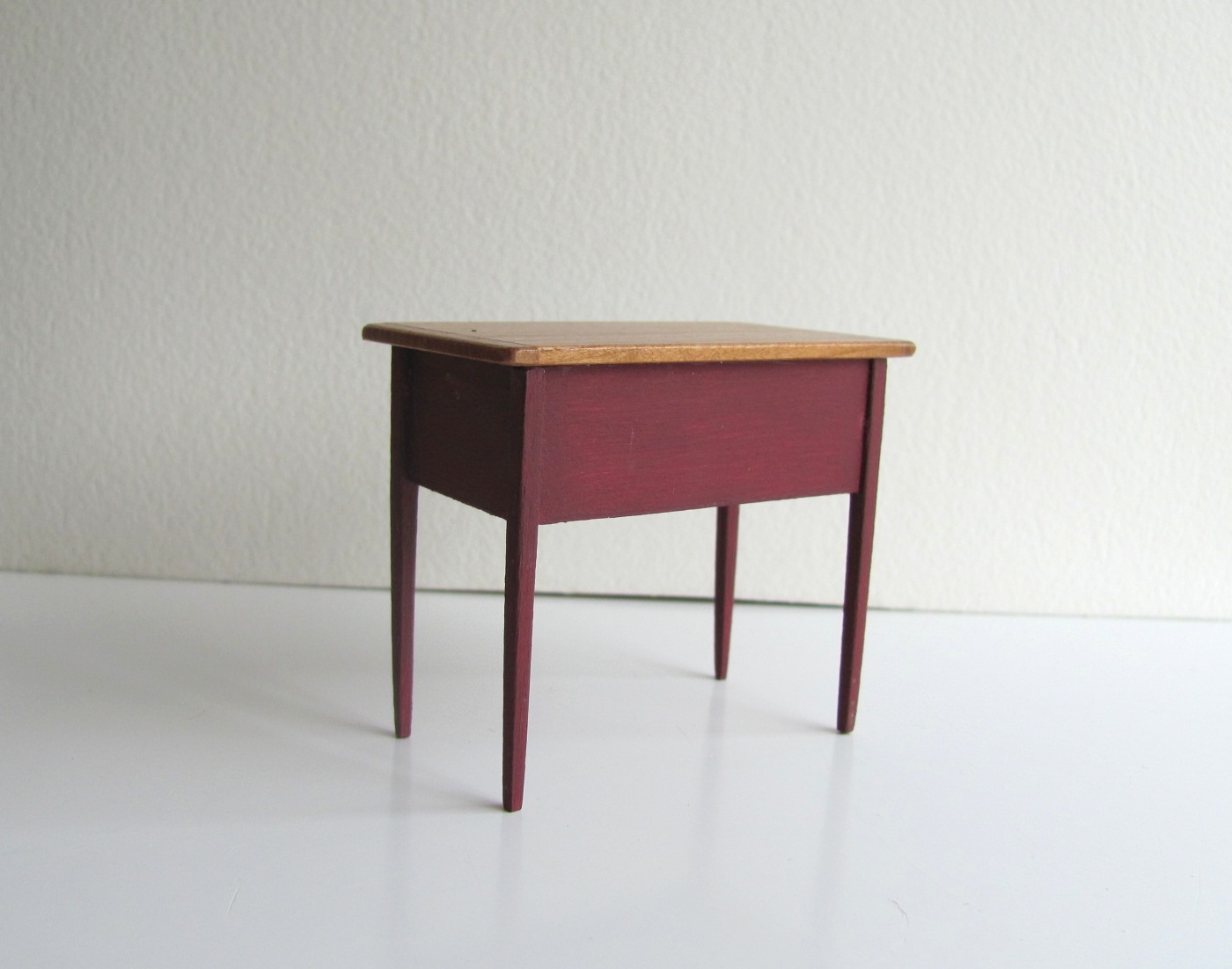 ... Simple Rustic Country Cottage Farmhouse 2 Drawer Red Harvest Table For  1:12 Scale Inch ...