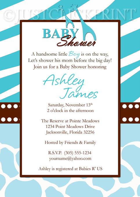 wild safari blue baby shower invitation printable · just click, Baby shower invitations