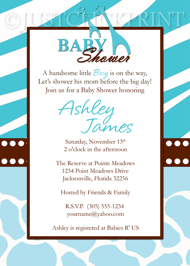 Wild Safari Blue Baby Shower Invitation Printable · Just Click Print ...