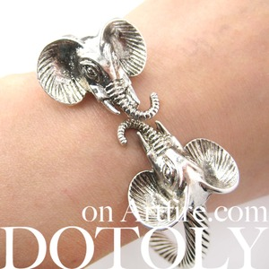 Elephant Animal Bangle Bracelet with Textured Detail in Silver