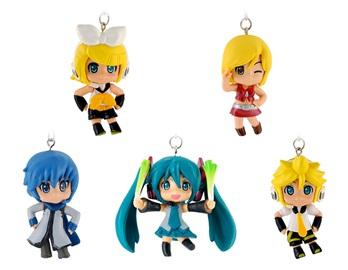 Set Of 5 Vocaloid Chibi Key Ring Figures KO