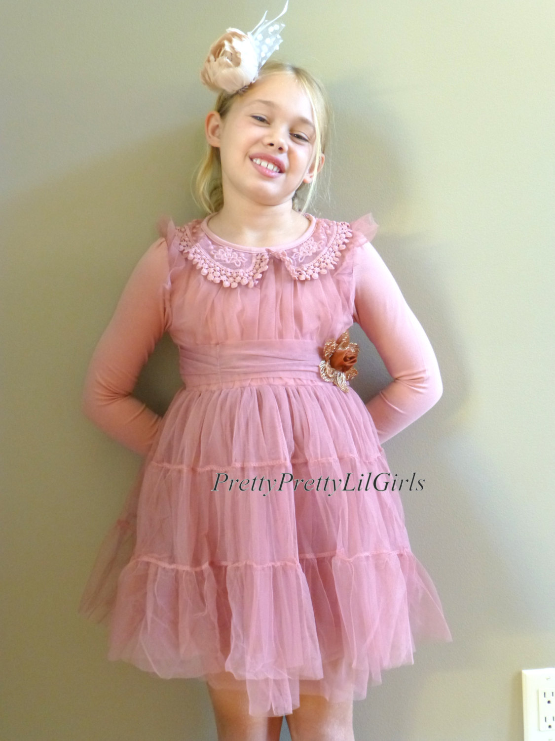 Toddler Girl Dress Girls Dress Lace Girls Dress Pink Girls Dress