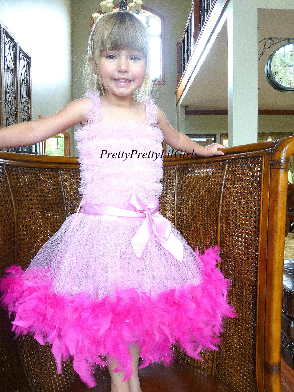 Feather Dress Girls Birthday Dress Flower Girl Dress Princess