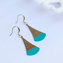Teal Color Dipped Flat Brass Dangle Earrings