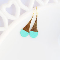 Turquoise Color Dipped Rounded Brass Dangle Earrings