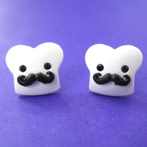 Small Muffin Man Mustache Stud Earrings in Silver ALLERGY FREE