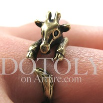 Miniature Baby Giraffe Ring in Bronze Sizes 4 to 9