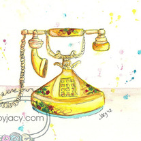 "8x10 Matte Print, ""My Yellow Vintage Phone"" Ink Watercolor Illustration"
