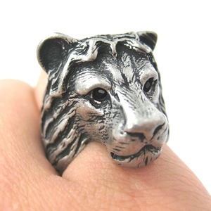 Adjustable 3D Lion Tiger Animal Wrap Around Ring in Matte Silver