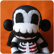 Winged Skeleton Sock Monkey - Black