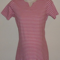 Pink Stripe V Neck Shirt-New Addition Maternity Size Small