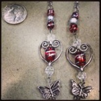 Heart Butterfly drop earrings