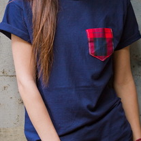Red & Navy Plaid Pocket Punt T-Shirt
