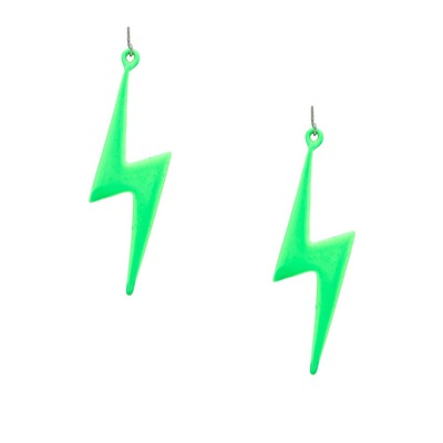 Electric bolt earrings - neon green