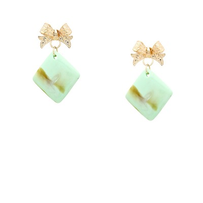 Topped with a bow stone earrings - mint