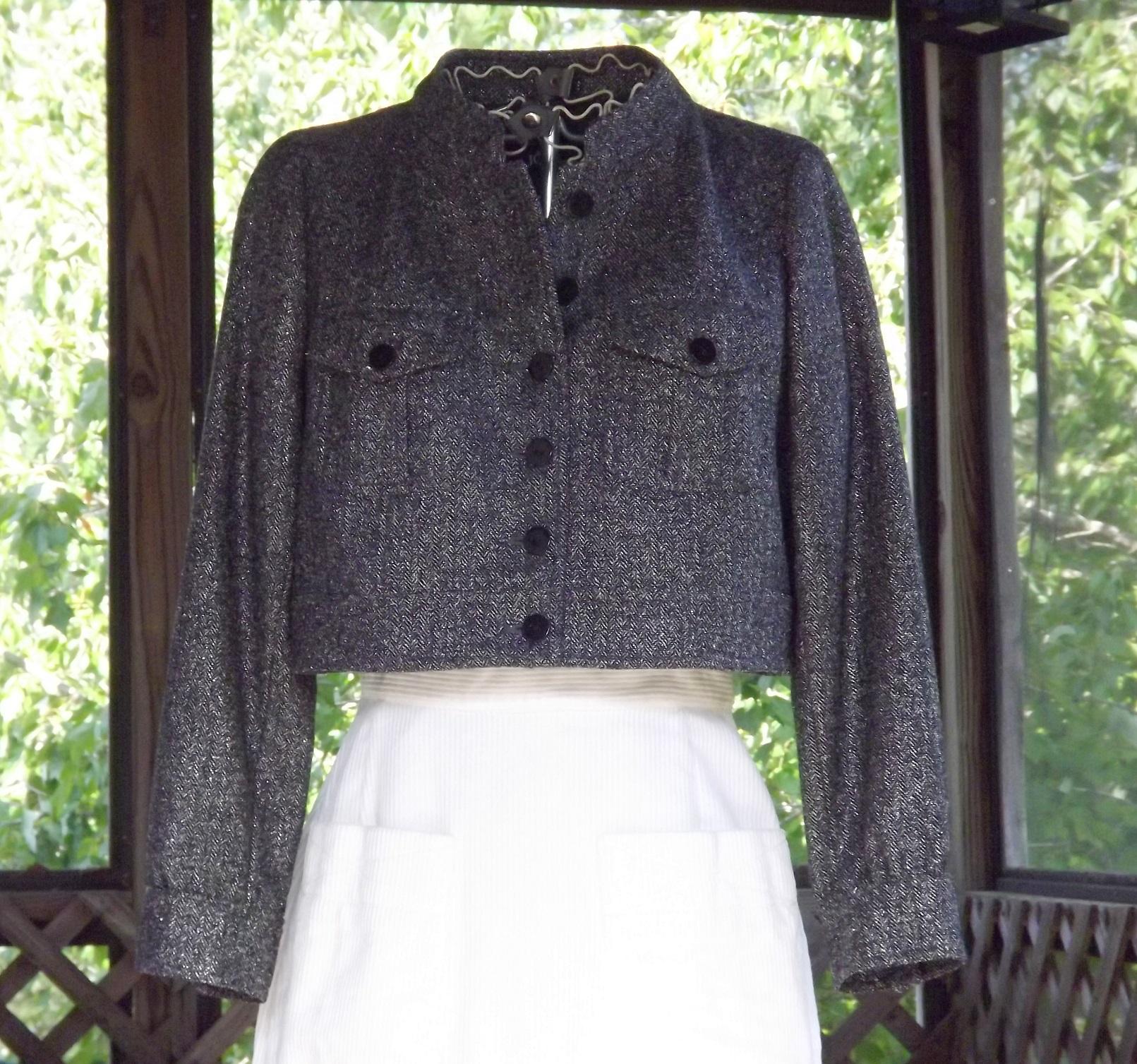 Bolero jacket short tweed coat designer black silver for Designer bolero