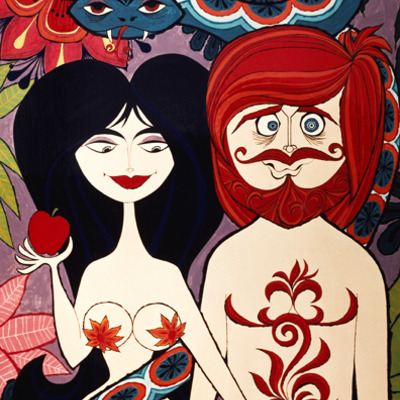 "Signed rolly crump ""adam and eve"" print"