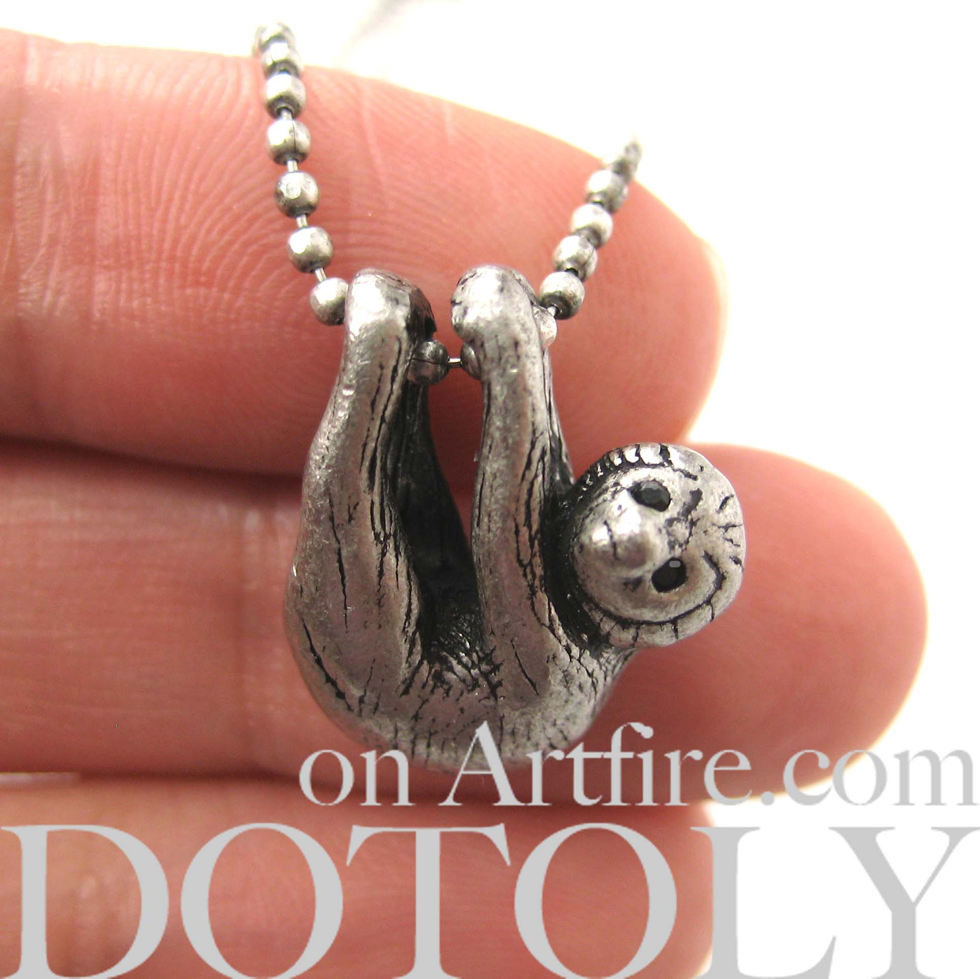 itm silver unique solid necklace sloth jewellery stunning handmade ebay pendant s hanging
