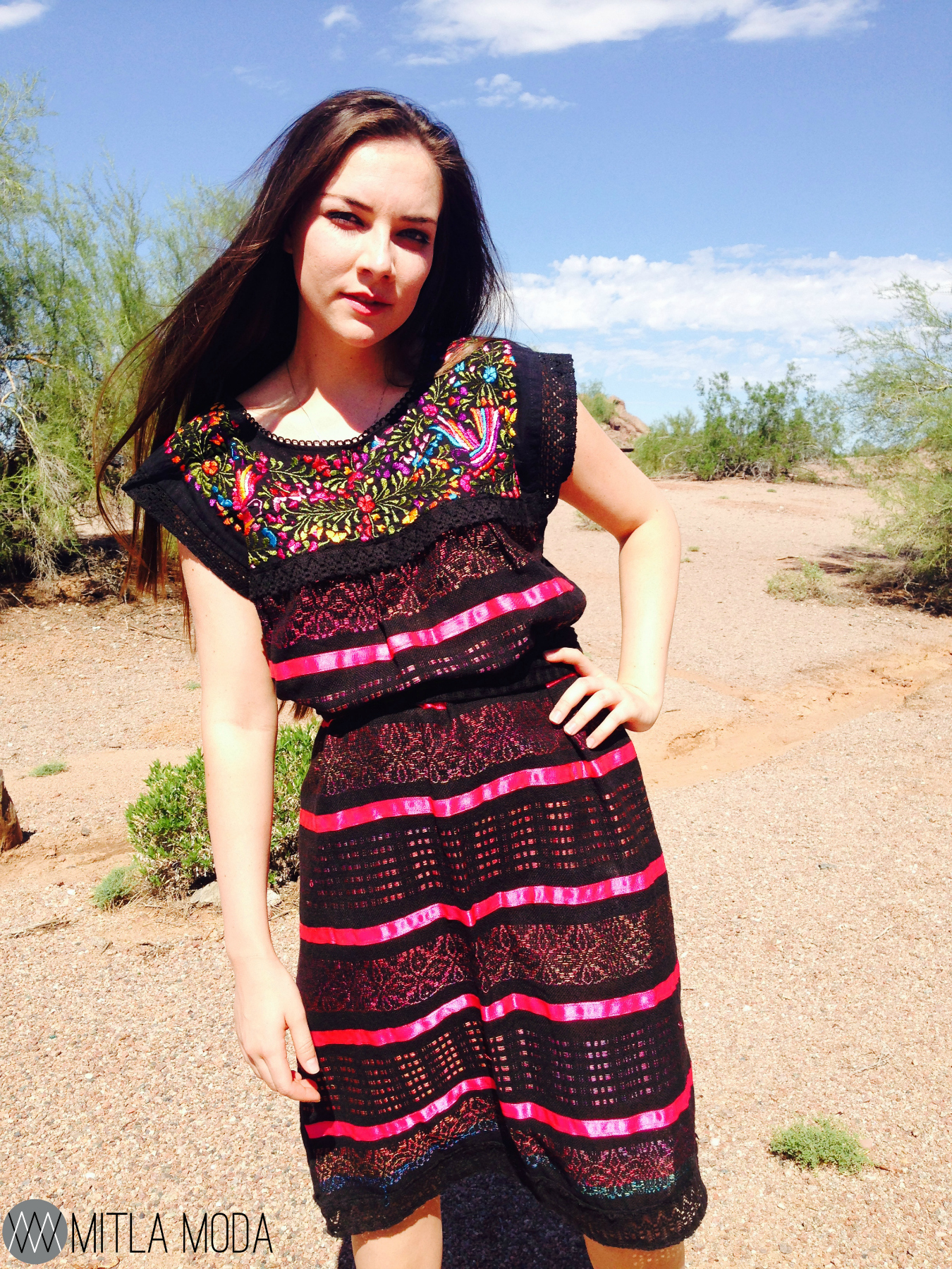 Mexican Embroidered Dress Woman Black Mexican Dress Boho Chic for Mexican  Style Dresses