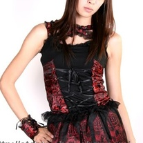 S Black Red Kera Punk Gothic Lolita Visual Kei Lace Corset Brocade Vest Tank Top Wristband