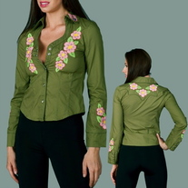 In Sm & Med - Green Snap Front Pink Embroidered Long Sleeve Boho Flower Western Shirt Blouse