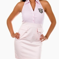 In S, M, L & Pink OR Blue White Stripe Military Badge Pencil Skirt Halter Wiggle Rockabilly Dress