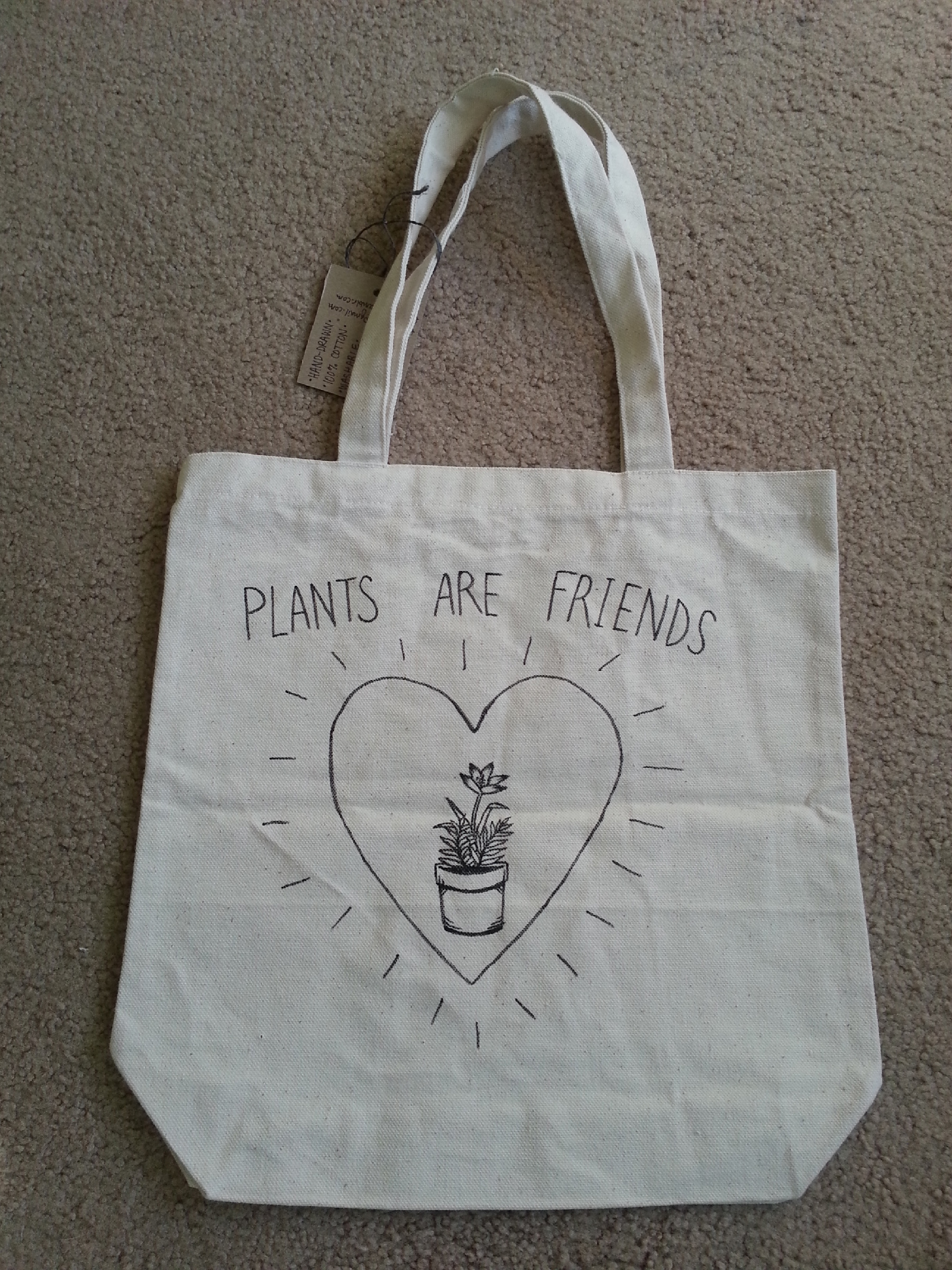 plants are friends hand drawn washable canvas tote small flower veins online store. Black Bedroom Furniture Sets. Home Design Ideas