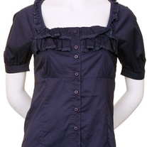 In M, L, & XL - navy blue blouse lace puff sleeve shirt button top