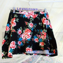 High Waist One Size Dark Floral Mini Skater Skirt