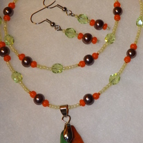 Tri - Color Glass Pendant Set