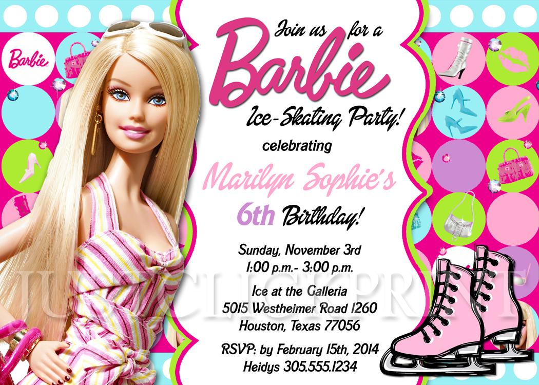 Barbie Girl Skating Birthday Party Invitation Printable · Just ...