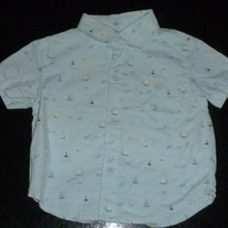 Light Blue Sailboat Shirt-Gymboree Size 6-12 Months